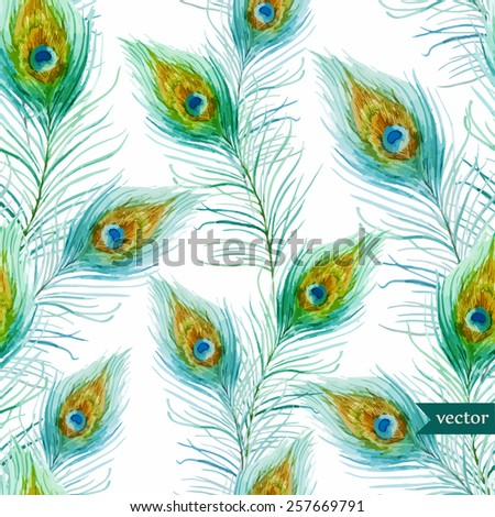 watercolor, feathers, peacock, pattern - stock vector