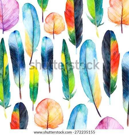 Watercolor feathers set. Hand drawn vector illustration with colorful feathers. Pattern with hand drawn feathers. Feather isolated on white background - stock vector