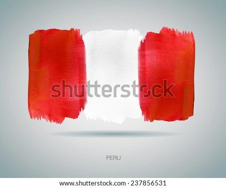 Watercolor Flag of Peru. Vector - stock vector