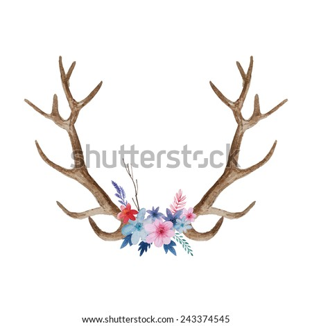 Watercolor floral antler. Hand drawn vintage deer horns with flowers, leaves and herbs. Eco style hipster illustration in vector - stock vector