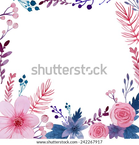 Watercolor Floral Background Flowers Plants Frame Stock Vector ...