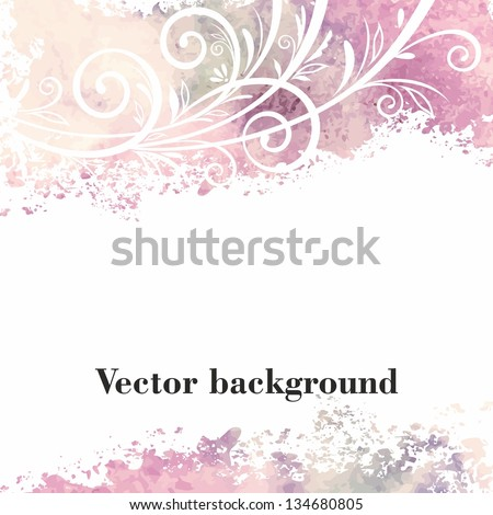 Watercolor floral background. Grunge floral pattern. - stock vector