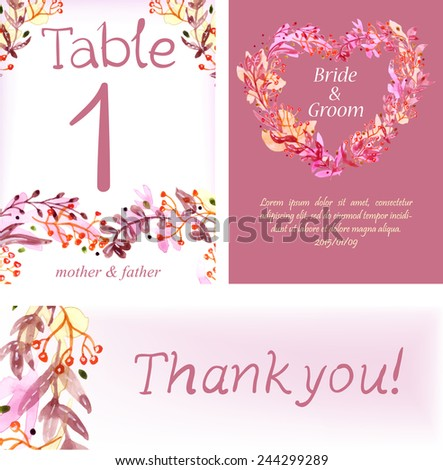 Watercolor floral cards set for wedding invitation design or save the date illustration - stock vector