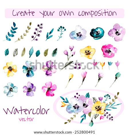 Watercolor floral composition creator. Set of hand drawn  plants, berries, leaves and flowers for design various combinations. You can create your own compositions using elements. - stock vector