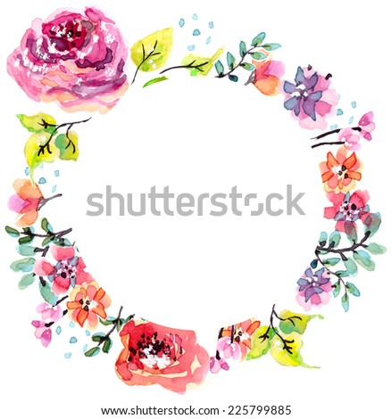 Watercolor floral frame, beautiful natural decorations, VECTOR - stock vector