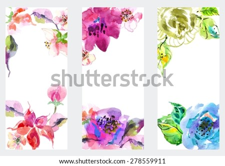 Watercolor floral frame, beautiful natural illustration - stock vector