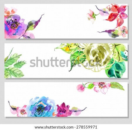 Watercolor floral frame, beautiful natural illustration - stock vector