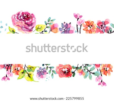 Watercolor floral frame, beautiful natural illustration, VECTOR - stock vector