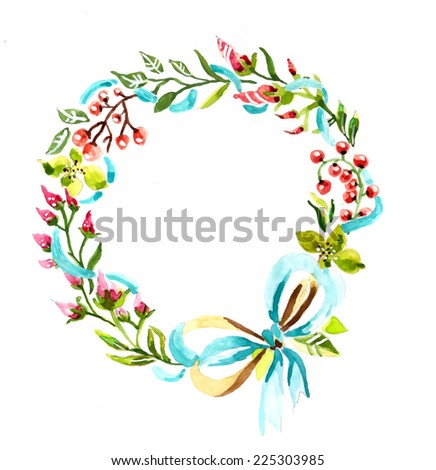 Watercolor floral frame, colorful natural illustration - stock vector