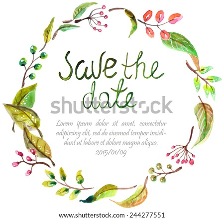 Watercolor floral frame, colorful natural illustration with text for wedding invitation - stock vector