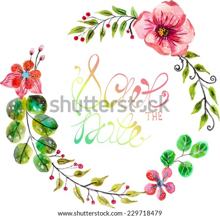 Watercolor floral frame for wedding invitation design, save the date illustration, Vector - stock vector