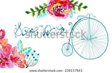 Watercolor floral frame for wedding invitation, save the date illustration with retro bicycle - stock vector