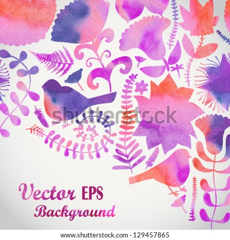 Watercolor floral greeting card. Vintage retro background with floral ornament You can design cards, notebook cover and so on. Spring theme background. - stock vector