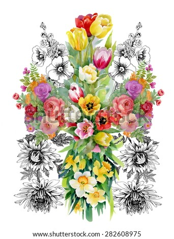 Watercolor floral pattern on white background with summer garden tulips, narcissus, roses flowers vector illustration