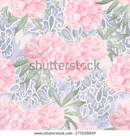 Watercolor floral pattern. Peony and paisley print - stock vector