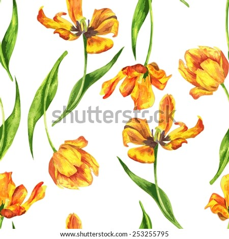 watercolor floral seamless pattern - stock vector