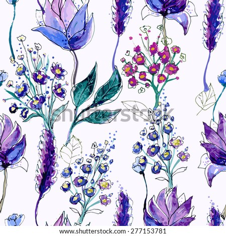 Watercolor Floral Seamless Pattern. Hand Painted Flowers Background. Artistic backdrop. Digital paper texture. Wildflowers Violet Ornament. Good For Web, Print, Wrapping Paper. Art Painting Design - stock vector
