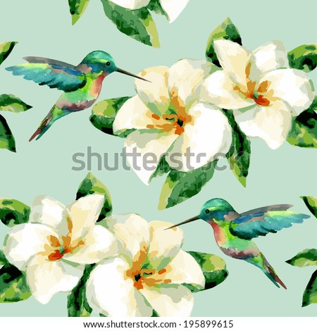 Watercolor floral seamless pattern of exotic flowers - stock vector