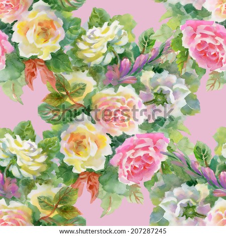 Watercolor floral seamless pattern on pink background vector illustration - stock vector
