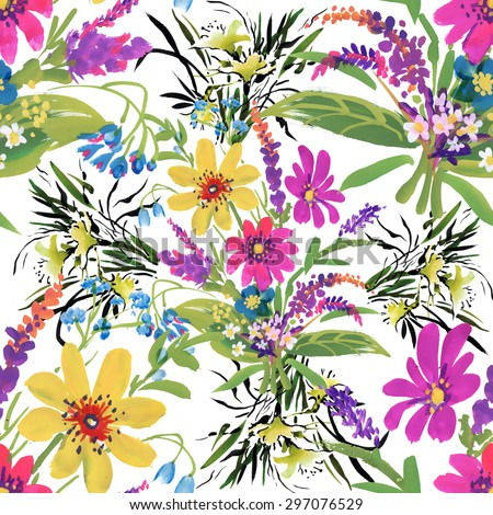 Watercolor floral seamless pattern on white background vector illustration - stock vector