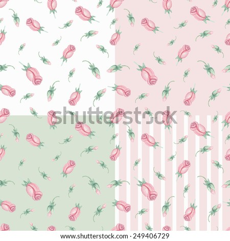 Watercolor Floral seamless pattern set with pink roses buds.Cute vintage flowers  .Hand drawing painting background .For Backdrop,background,fabric,Wallpaper.Vector  - stock vector