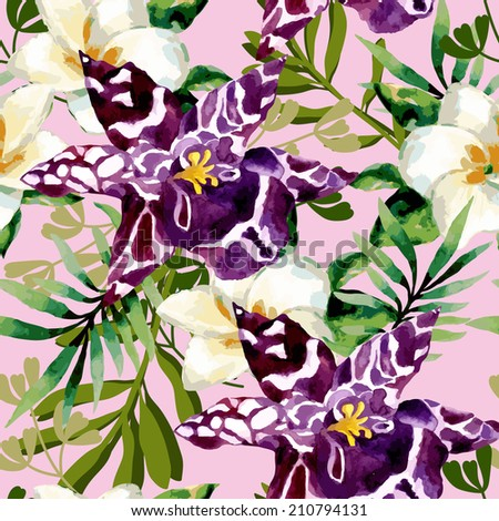 Watercolor floral seamless pattern with orchid flowers on white background - stock vector