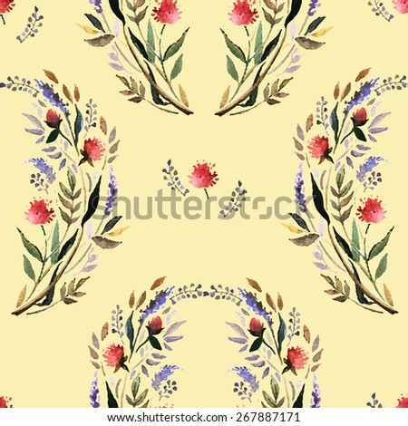 Watercolor floral seamless with flowers and herbs.  Hand painting. Watercolor. Seamless pattern for fabric, paper and other printing and web projects. - stock vector