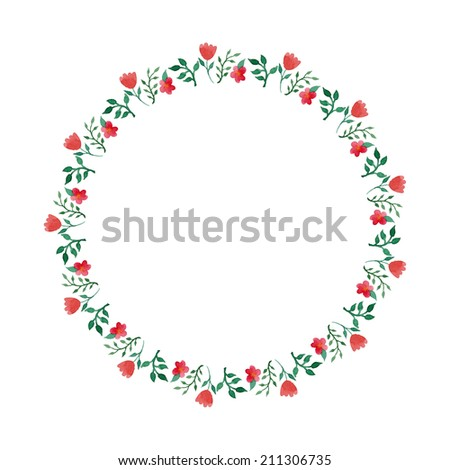 Watercolor floral wreath round frame in vector - stock vector