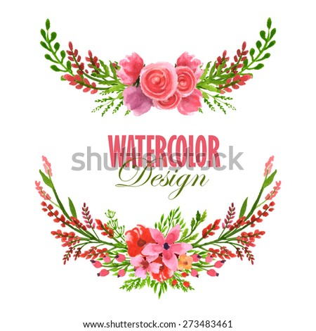 Watercolor floral wreath set. Vector hand painted illustration. - stock vector