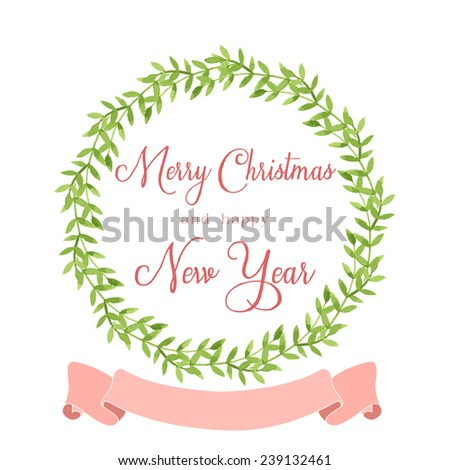 watercolor floral wreath with winter holidays greeting message and ribbon on white background. - stock vector