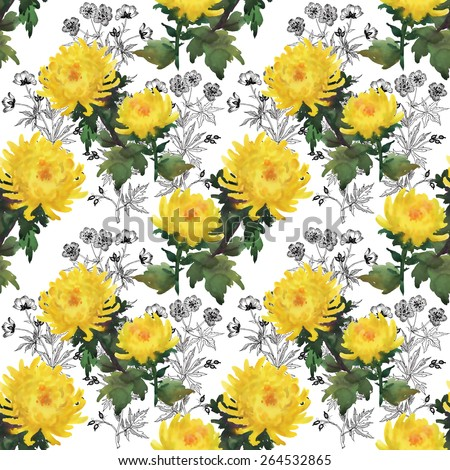 Watercolor floral yellow chrysanthemum flowers seamless pattern on white background vector illustration - stock vector
