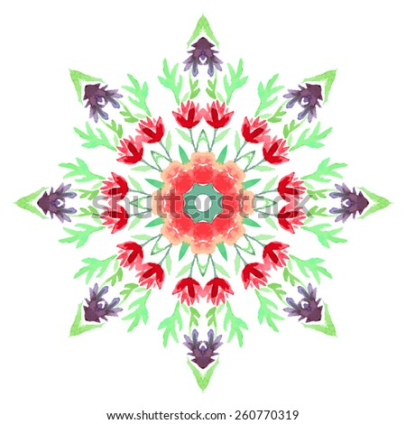 Watercolor Flower Cherry Blossom Mandala. Lace circular ornament on white background. Oriental Geometric circle element. Vector illustration. - stock vector
