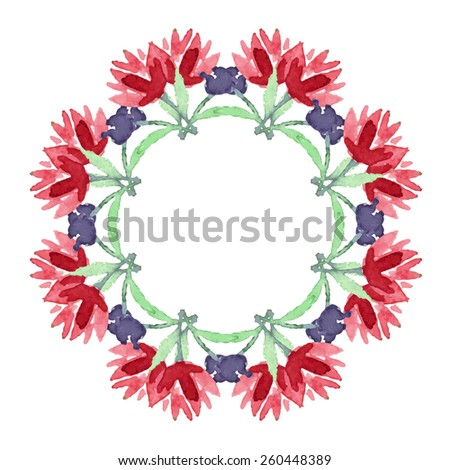 Watercolor flower mandala. Lace circular ornament on white background.  Oriental Geometric circle element. Vector illustration. - stock vector