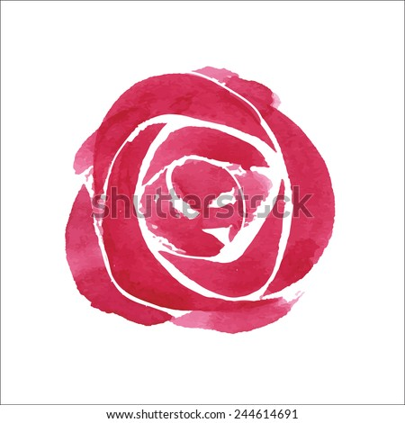 Watercolor flower, red roses, hand drawn illustration.  - stock vector