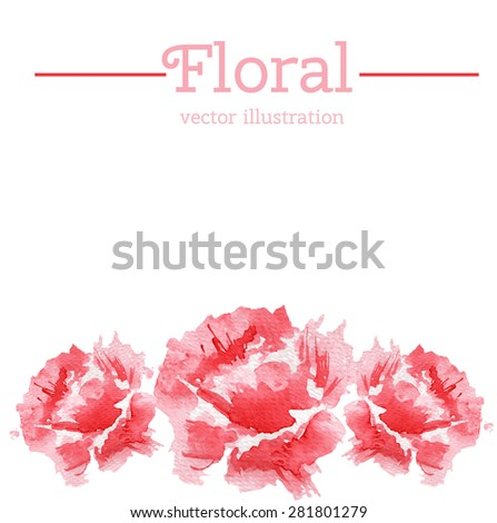 Watercolor flower. Vector illustration. Can be used for banner, cards, wedding invitations etc. - stock vector