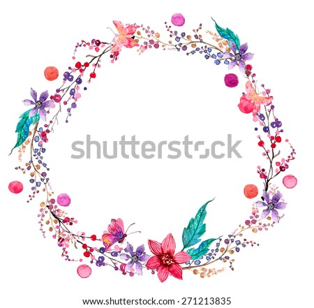 Watercolor flower wreath background for beautiful design, Vector
