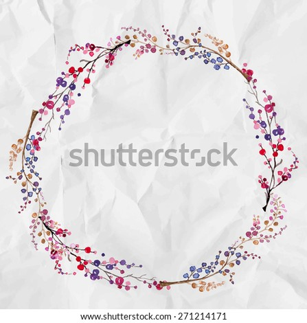 Watercolor flower wreath background for beautiful design, Vector - stock vector