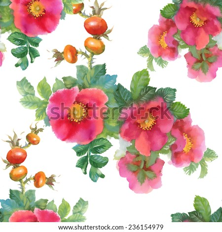 Watercolor flowers and briars seamless pattern on white background vector illustration - stock vector