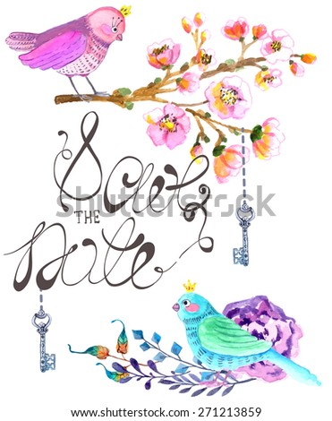 Watercolor flowers background for beautiful design, Save the date, wedding design, Vector - stock vector