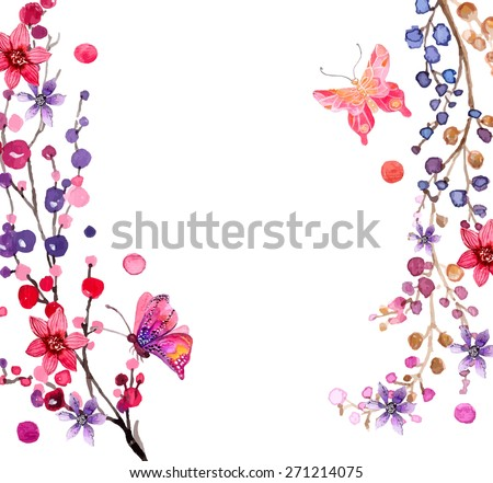 Watercolor flowers background for beautiful design, Vector - stock vector