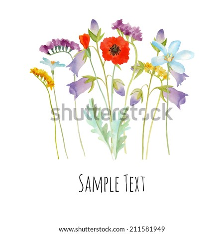 Watercolor flowers bouquet can be used as greeting card, invitation card for wedding, birthday - stock vector