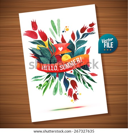 Watercolor flowers card template. Stylized flower illustration. Flyer card with flowers colorful elements with ribbon and shadow. Vector design - stock vector