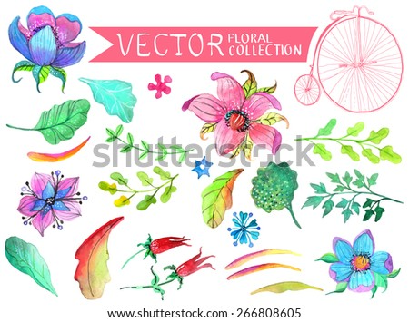 Watercolor flowers collection for different design. Vector - stock vector