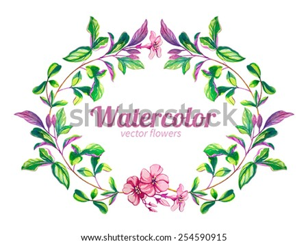 Watercolor flowers frame - stock vector