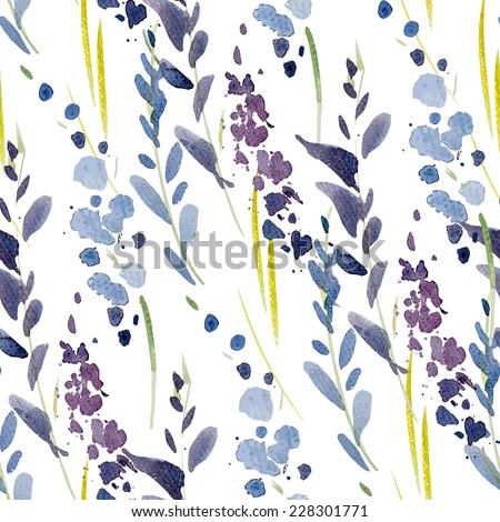 watercolor, flowers, pattern - stock vector