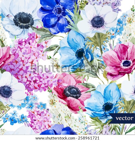 watercolor, flowers, pattern, anemones, lilac, wallpaper, background - stock vector