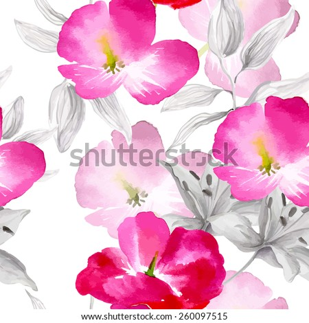 Watercolor flowers seamless pattern.Bright colors watercolor botanical elements - stock vector