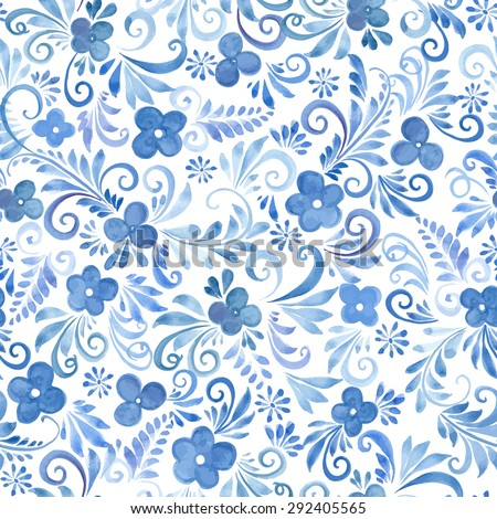 Watercolor Flowers seamless pattern. Vector Floral Background for your design - stock vector