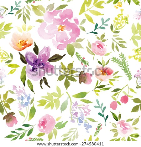 Watercolor flowers. Seamless pattern. Vector. Illustration. Gentle - stock vector