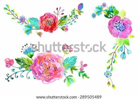 Watercolor flowers set. Colorful floral collection with leaves and flowers. Spring or summer design for invitation, wedding or greeting cards, Vector - stock vector